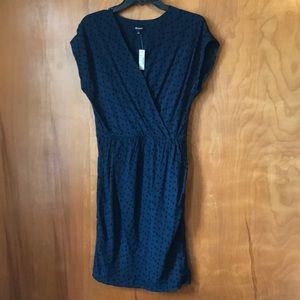 NWT Madewell Blue dress with black polka dots